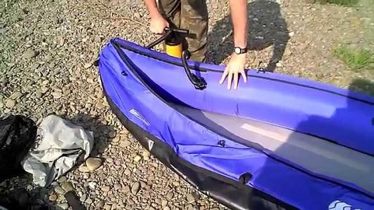 homme, pompage, kayak
