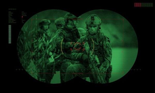 vue à travers un appareil de vision nocturne
