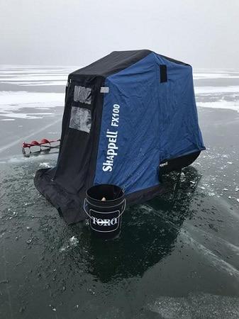 Shappell FX100 monté sur une glace gelée