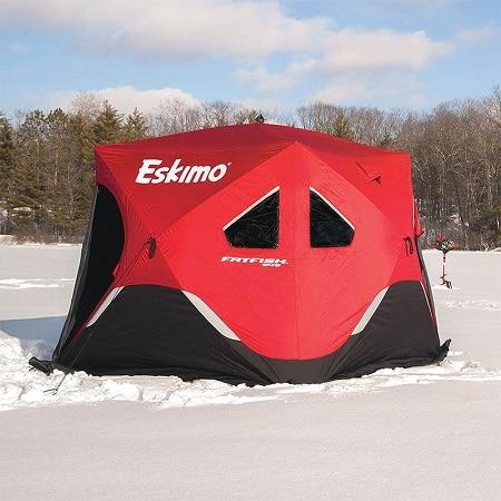 tente de pêche sur glace de style hub