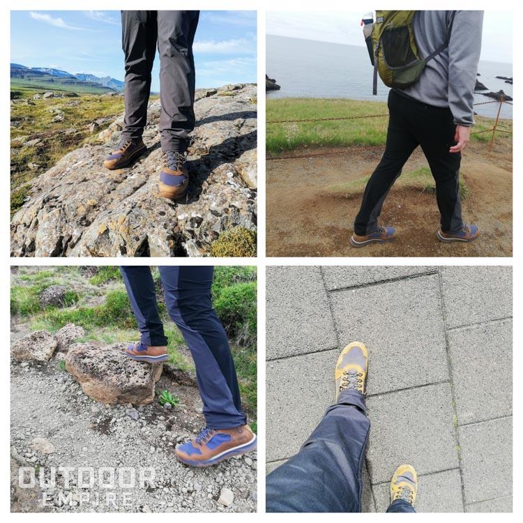Différentes vues des bottes Skogan à pied en marchant
